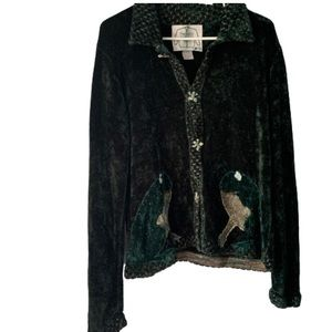 VTG Green Frog Rayon Blend Button Up Cardigan